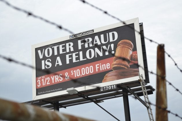 "Ridiculous: ""Voter Fraud is a Felony"" Billboards Removed Amid Outcry From Critics voterfraud"