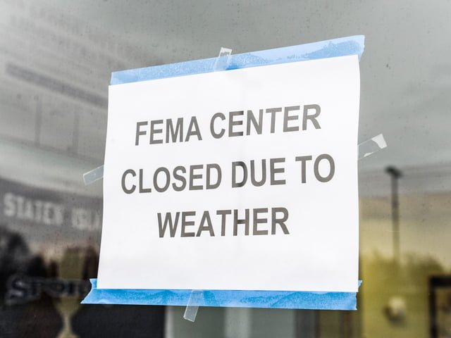This real FEMA sign appeared in the news during the response to Hurricane Sandy.