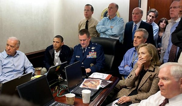 Zero Dark Thirty: Bin Laden Revisted – Hollywood Style obama clinton biden watch bin laden raid 600x350