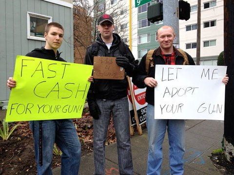 "BACKFIRE: Seattle Gun Buyback Turns Into Gun Show; Collectors Waved ""Wads of Cash"" At Those In Line cash4guns2"