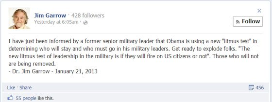 "Shock Claim: ""The New Litmus Test Of Leadership In The Military Is If They Will Fire On US Citizens Or Not"" garrow2"