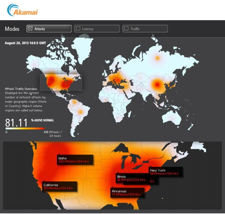 U.S. Web Attacks Skyrocket Ahead of Mid East Action: 81% Above Normal *Real Time Heat Map* webattacks 082813