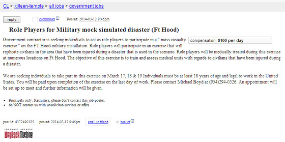 Fort Hood job listing: 'Seeking individuals to act as role ...