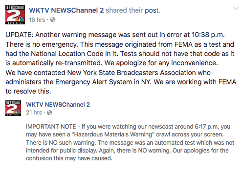 Screen capture from Facebook page for WKTV News, Utica NY