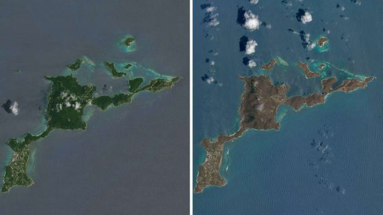 A satellite image of Virgin Gorda before Hurricane Irma hit (left) and after (right)