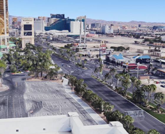 The shooter's vantage point from the northeast corner of the Mandalay Bay Convention Center. (Screenshot via Google Maps)