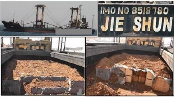 North Korea attempted to hide $23 million in weapons to Egypt under crates of iron ore.