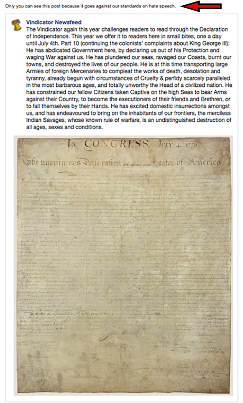 """Facebook Algorithm Flags The Declaration Of Independence As """"Hate Speech"""""""